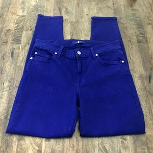 7 For All Mankind Cobalt Blue Skinny Pants 30